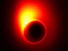 Компьютерная модель показывает, как гравитация чёрной дыры искривляет релятивистскую струю вблизи горизонта событий  ((иллюстрация Avery E. Broderick/Perimeter Institute & University of Waterloo).)