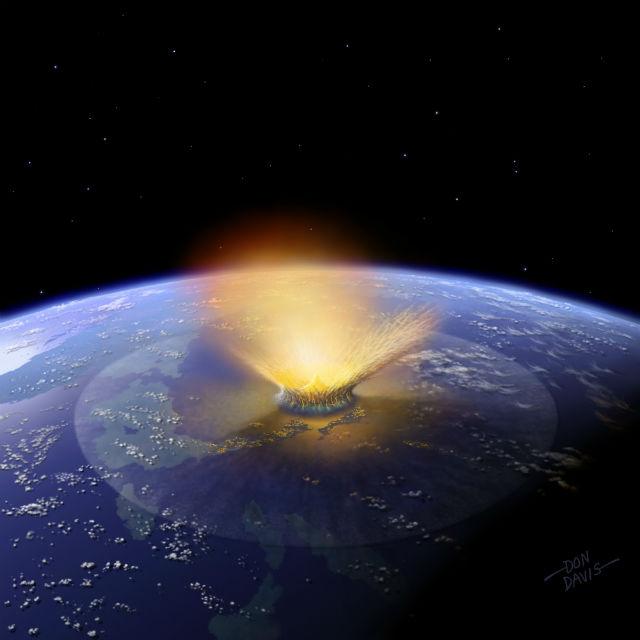 Столкновение с астероидом диаметром от 140 метров приведёт к большим разрушениям в районе падения. Встреча с более крупными объектами может привести к глобальной катастрофе (иллюстрация Don Davis).