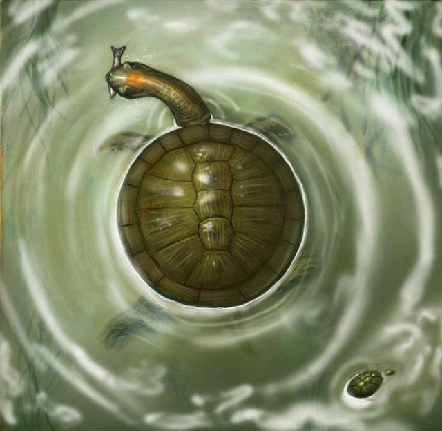 Так могли выглядеть черепахи 60 миллионов лет назад (иллюстрация Liz Bradford).