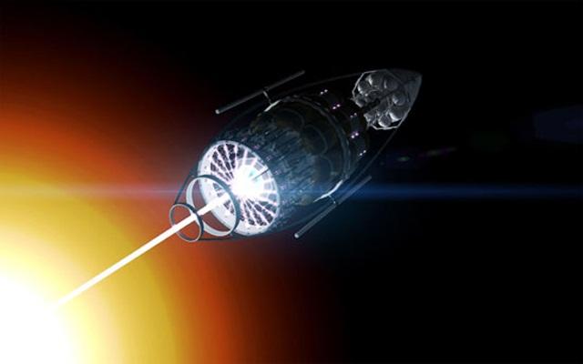 Аннигиляция антиматерии сопровождается высвобождением огромной энергии, достаточной для разгона космического корабля до субсветовых скоростей (иллюстрация Adrian Mann).