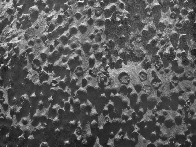 Множество шарообразных объектов диаметром до трёх миллиметров обнаружены марсоходом Opportunity при исследовании выхода горной породы Кирквуд (фото NASA/JPL-Caltech/Cornell Univesity/USGS/Modesto Junior College).