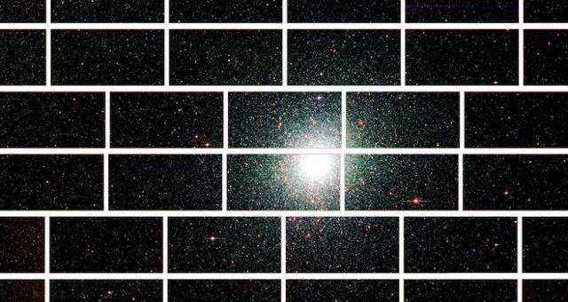 Составное изображение шарового звёздного скопления 47 Тукана, расположенного на расстоянии 17 тысяч световых лет от Земли