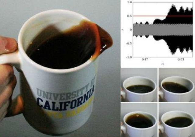 Разлив кофе происходит в результате сложных взаимодействий между механикой ходьбы человека и колебаниями жидкости (иллюстрация HC Mayer and R. Krechetnikov).
