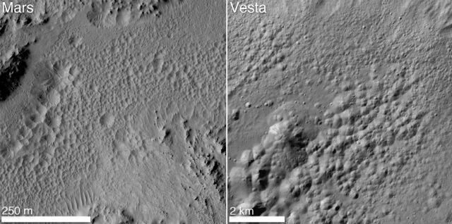 Выходы водяного пара оставляют на поверхности Весты множество глубоких ям, похожих на те, что встречаются на Марсе (иллюстрация NASA/JPL-Caltech/UCLA/MPS/DLR/IDA/JHUAPL).