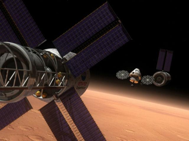 Станция EML-2 также могла бы поспособствовать отправке пилотируемой миссии на Красную планету (иллюстрация NASA).