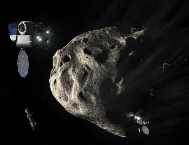 Станция EML-2 может стать перевалочным пунктом для миссии по освоению астероидов (иллюстрация NASA).