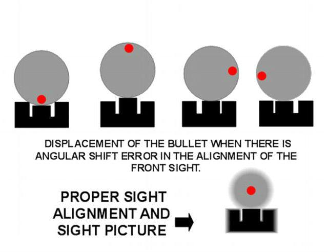 """Положение """"мушки"""" и соответствующее движение пули (иллюстрация John Davis/Quora.com)."""