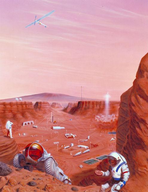 Таким видят будущее Красной планеты специалисты Американского космического агентства (иллюстрация NASA).