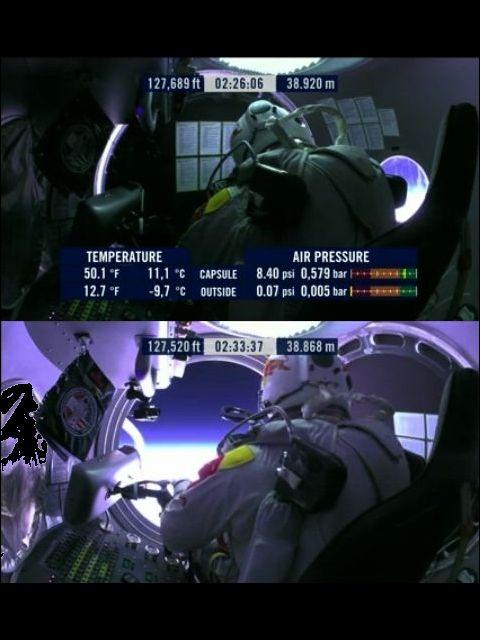 На краю бездны (кадр из видео Red Bull Stratos).