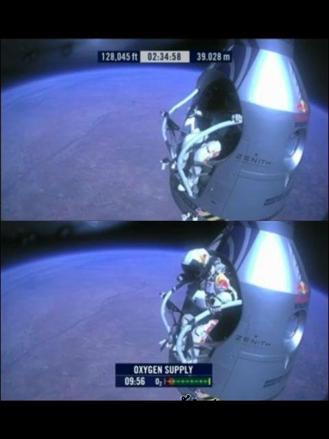 Баумгартнер за секунду до прыжка (кадр из видео Red Bull Stratos).