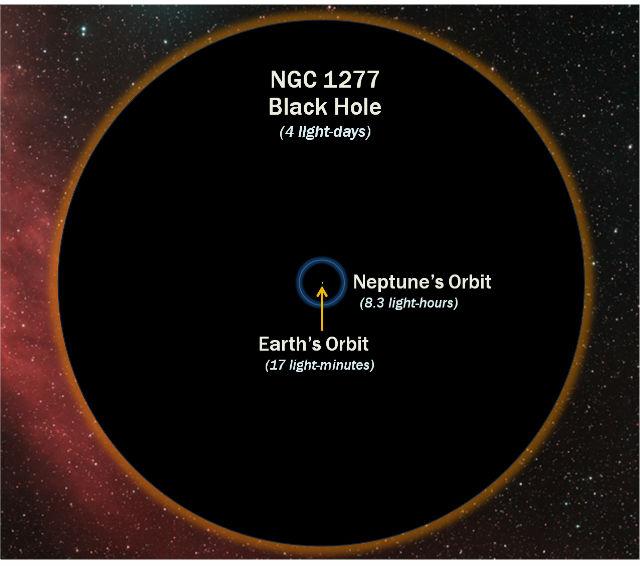 Сравнение чёрной дыры в центре NGC 1277 с орбитой Земли (точка в центре) и Нептуна (синяя окружность) (иллюстрация D. Benningfield/K. Gebhardt/StarDate).