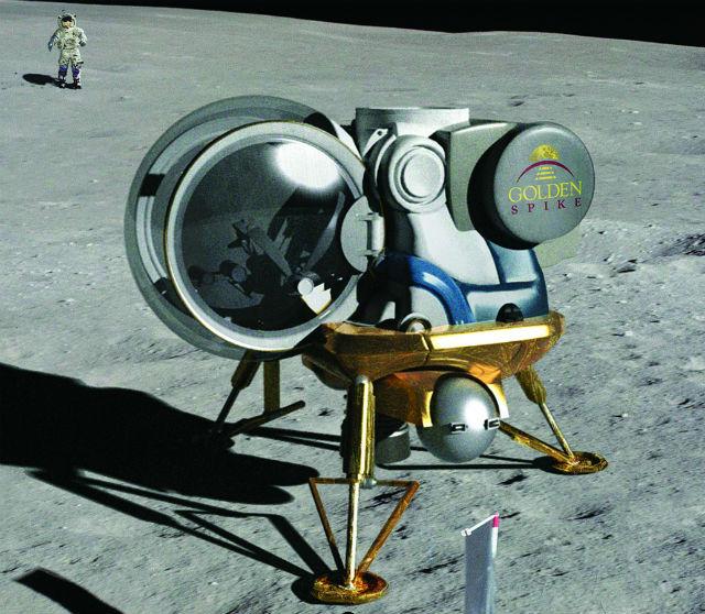 Компания планирует разработать собственный посадочный модуль и скафандр для путешествия на Луну (иллюстрация Golden Spike).
