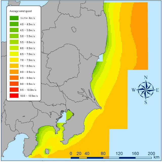 Карта демонстрирует среднюю скорость ветра в районе побережья японской провинции Фукусима (иллюстрация Takeshi Ishihara).