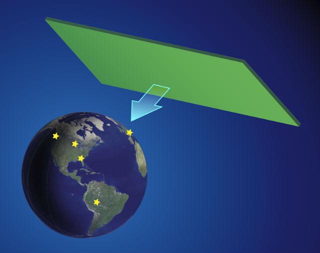 Сеть из нескольких магнитометров (обозначены звёздами) должна одновременно зафиксировать возмущение магнитного поля при прохождении Земли через космическую доменную стену (иллюстрация APS/Alan Stonebraker).