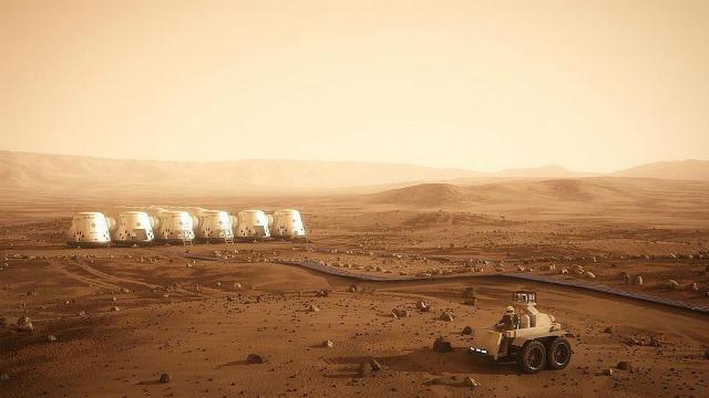 """Художественное изображение первой колонии Марса, которая может появится на Красной планете в рамках проекта """"Марс один"""" (иллюстрация Mars One)."""