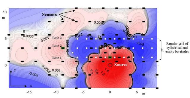 Карта распространения сейсмических волн, зафиксированная сенсорами (показаны чёрными прямоугольниками). Красный цвет обозначает возможные наиболее сильные разрушения (иллюстрация S. Brule et al.).