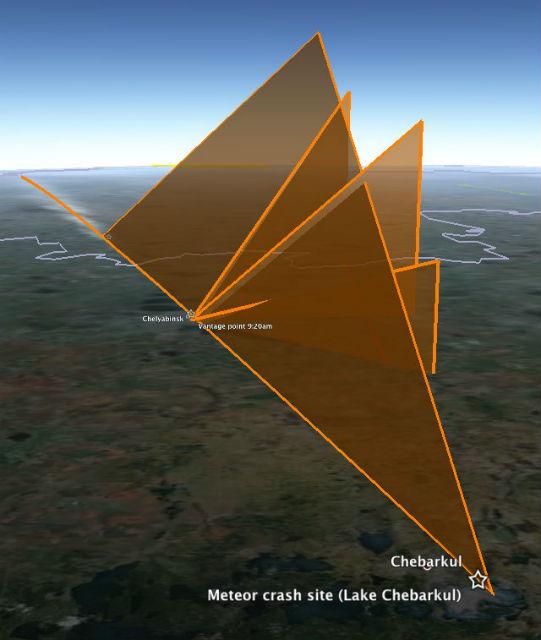 Модель траектории полёта метеорита в атмосфере Земли, построенная с помощью карт Google (иллюстрация ogleearth.com).