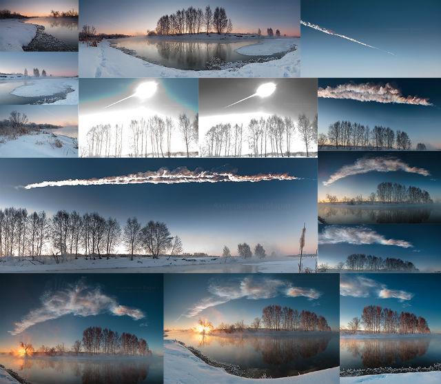 Взрыв метеорита в небе над Челябинском (фото Марата Ахметвалеева).