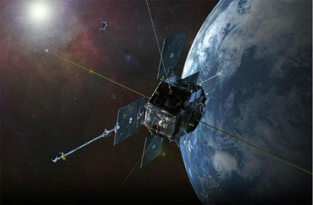 Художественное изображение спутника NASA, который помог обнаружить третий радиационный пояс (иллюстрация NASA/SDO/AIA/Goddard Space Flight Center).