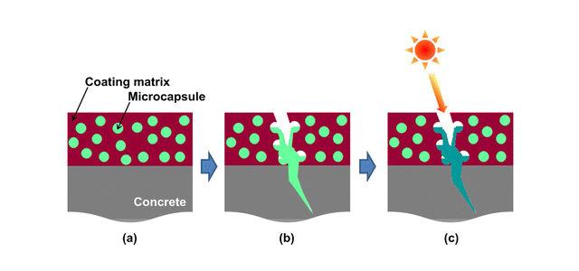 Принцип работы нового покрытия для бетона (иллюстрация American Chemical Society).