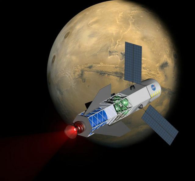 Концепция полёта корабля с термоядерным ракетным двигателем (иллюстрация University of Washington, MSNW).