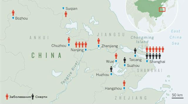 Карта распространения H7N9 (иллюстрация ВОЗ/ECDC/Xinhua state media).