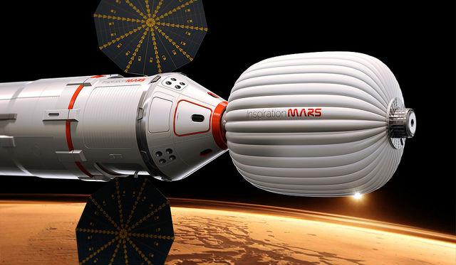 Так в представлении художника выглядит космический корабль, на котором супруги полетят к Марсу в 2018 году (иллюстрация Inspiration Mars Foundation).