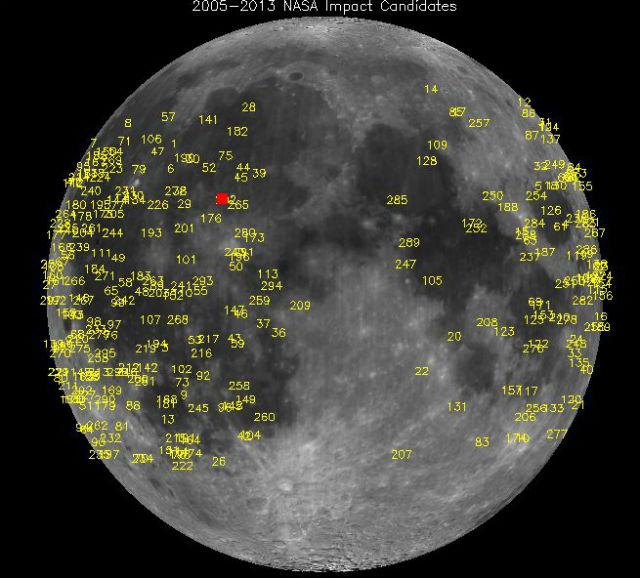 Точки падения небесных тел за восьмилетний период наблюдения (2005-2013). Красным обозначено место столкновения метеорита с лунной поверхностью 17 мая 2013 года (фото NASA).