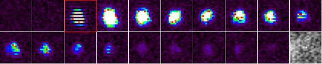 Кадры из чёрно-белого видео, фиксирующего столкновение метеорита с поверхностью Луны, в цвете (фото NASA).