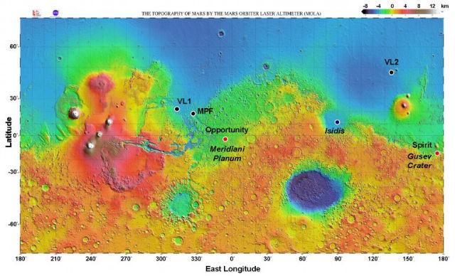 Точка приземления Opportunity (иллюстрация NASA).