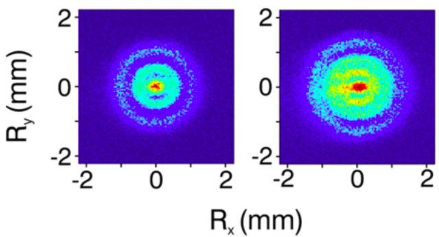 1) Снимки размером 4 на 4 миллиметра: красные точки обозначают наибольшую вероятность нахождения электрона, голубые — наименьшую (фото Aneta Stodolna/FOM Institute AMOLF).
