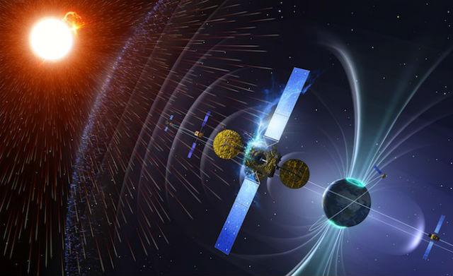 От потока заряженных частиц, исходящего от Солнца и ближайших звёзд, Землю защищает её магнитное поле и атмосфера. А вот космические корабли и другие планеты похвастаться этим не смогут (иллюстрация ESA/SSA).