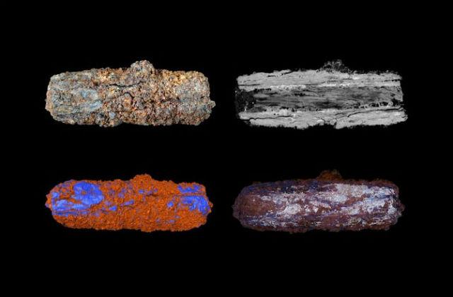 Герзейская бусина (слева, вверху) и компьютерные модели её внутреннего состава, подтверждающие метеоритное происхождение (иллюстрация Open University).