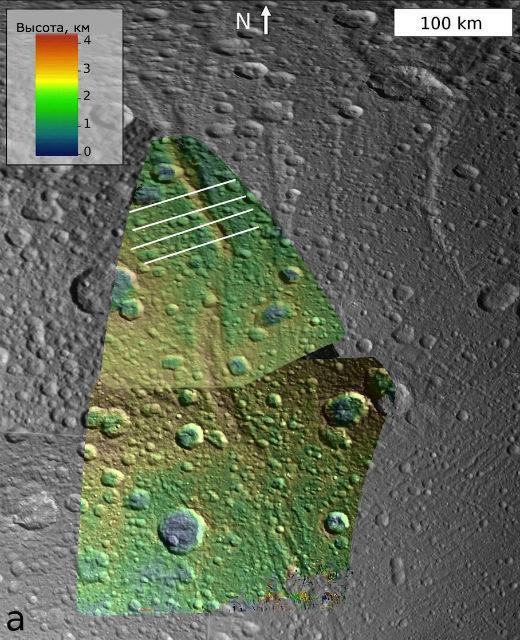 Горный хребет Janiculum Dorsa на Дионе. Шкала цветов соответствует высоте гор (изображение NASA/JPL-Caltech/SSI/Brown).