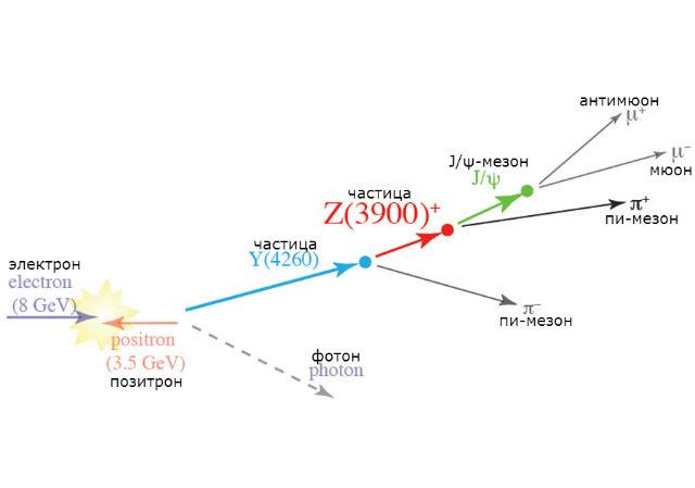 Появление частицы Z(3900) в ходе распада частицы Y(4260) (иллюстрация L. Piilonen/Belle Collaboration).