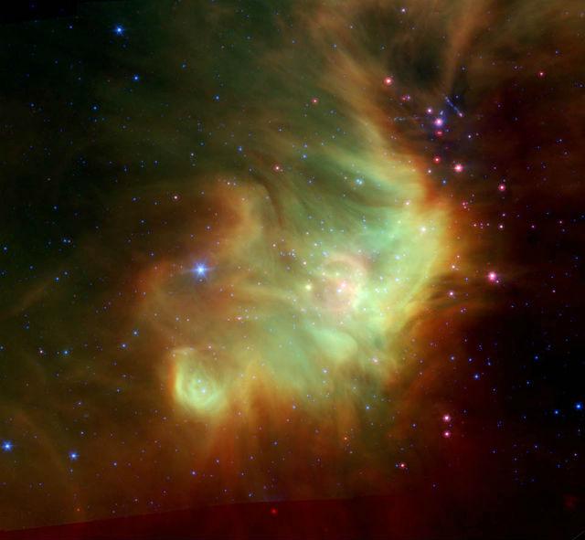 Молекулярное облако Персея, в составе которого была обнаружена молекула метокси-радикала, сформированная при помощи туннельного эффекта (фото NASA/JPL-Caltech/L. Cieza).