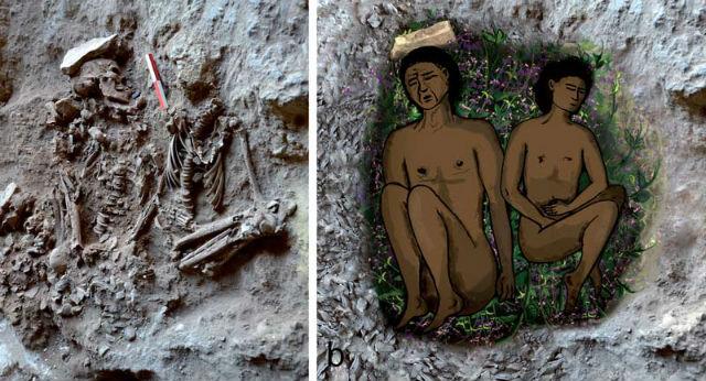 Примерно так располагались тела мужчины и мальчика в древней могиле (фото и иллюстрация D. Nadel et al., PNAS Early Edition (2013)).