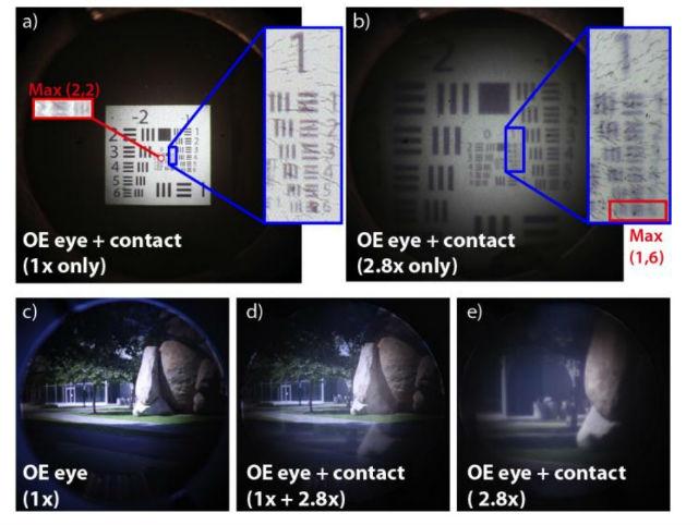 Изображения, полученные через новые контактные линзы и оптомеханический глаз: (a) таблица для проверки чёткости изображения ВВС США, увеличения нет, (b) увеличение в 2,8 раза, (c) снимок оптомеханического глаза на природе, (d) с контактными линзами и увеличением (иллюстрация Optic Express).