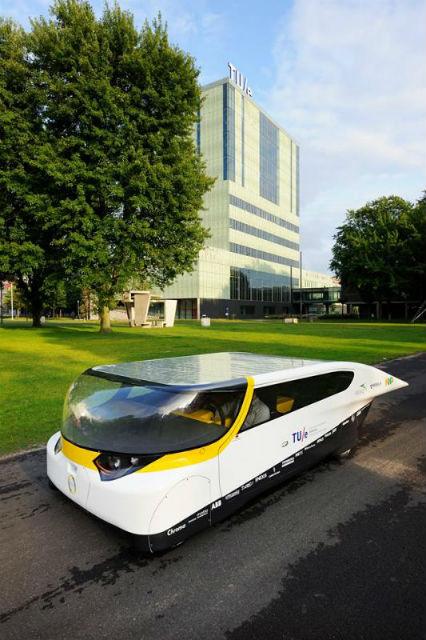 Дизайн автомобиля будущего не выглядит агрессивно: напротив, корпус украшает жизнерадостная солнечно-жёлтая полоска (фото STE).