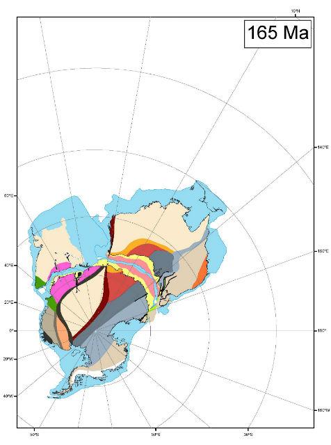 """Новая карта Гондваны даёт лучшее представление о """"взаимодействии"""" Австралии, Антарктики и Индии. Цветные многоугольники показывают стратиграфические подразделения, которые сформировались до разделения континентов (иллюстрация White et al., Gondwana Research)."""