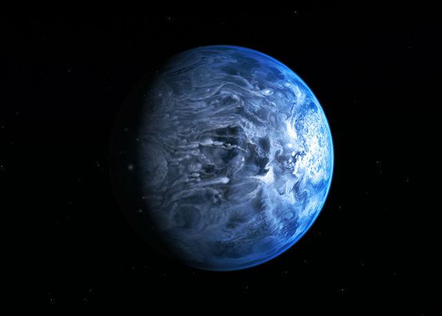 За голубой цвет планеты отвечают вовсе не обширные океаны, а силикаты в её атмосфере. Частицы рассеивают голубой свет (иллюстрация NASA, ESA, M. Kornmesser).