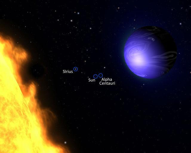 """HD 189733b обращается очень близко вокруг красного карлика HD 189733, расположенного в созвездии Лисички. """"Год"""" на этой экзопланете длится всего 2,2 земных суток. На картинке показан примерный вид этой системы. Наличие других планет у светила пока не подтверждено (иллюстрация NASA, ESA, and G. Bacon (AURA/STScI))."""
