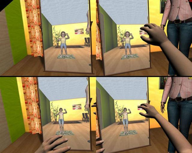 Кадры из визуализации: испытуемые немного пожили в теле ребёнка или взрослого карлика, что сказалось на их способности оценивать размеры окружающих предметов (иллюстрация Mel Slater).