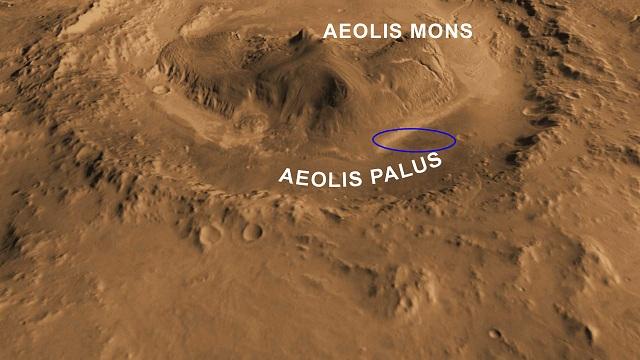 Следующей целью Марсохода будет подножие горы Эолида (фото NASA/JPL-Caltech/ASU/UA).