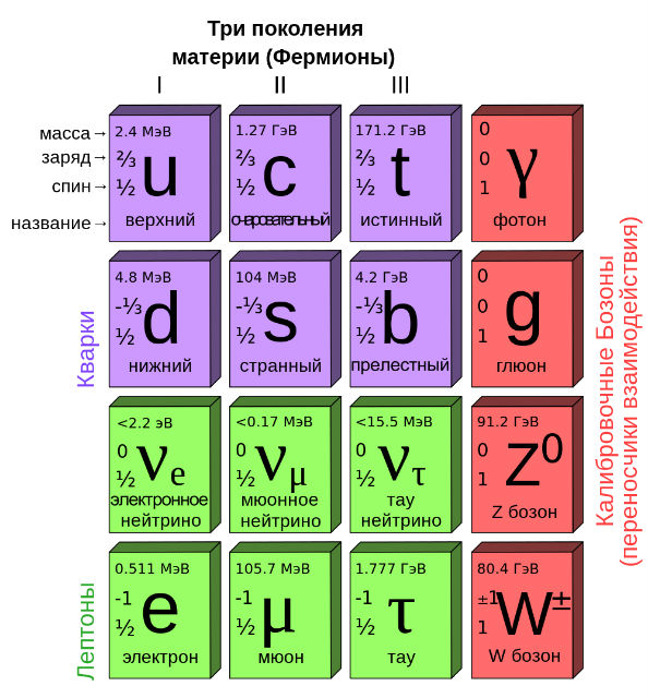 """У физиков есть своя """"таблица Менделеева"""" — взаимодействие частиц согласно Стандартной модели (иллюстрация Lord Akryl/Wikimedia Commons)."""