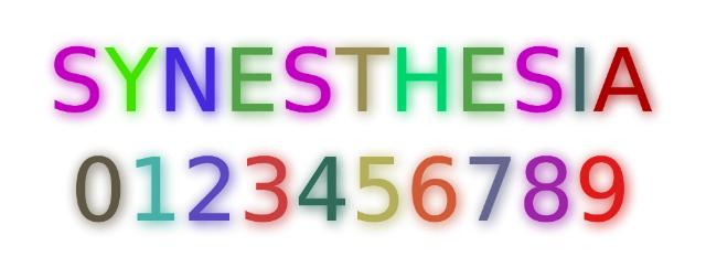 Так некоторые люди с синестезией могут воспринимать буквы и цифры, даже если они напечатаны чёрным шрифтом (иллюстрация Mysid/Wikimedia Commons).