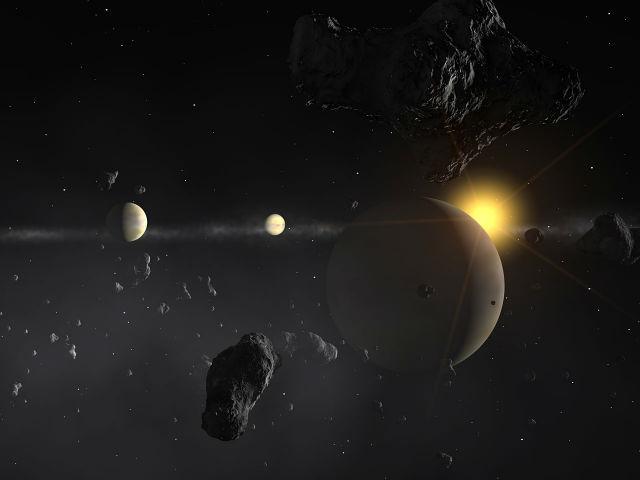Предположительно, челябинский метеорит вышел из основного астероидного пояса и изменил траекторию полёта под действием гравитации планет (иллюстрация ESO).