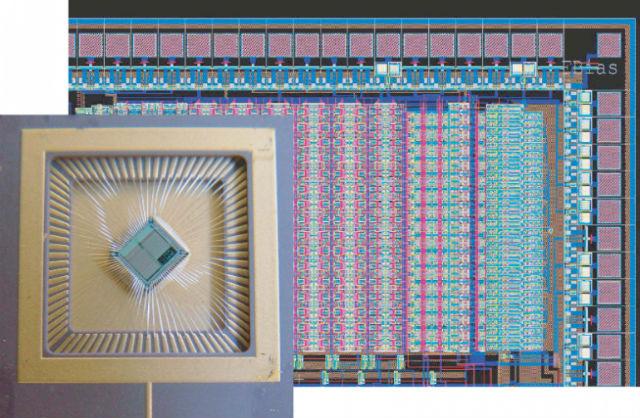 Мультинейронный чип, состоящий из массива аналогово-цифровых кремниевых нейронов и синапсов (фото ETH Zurich).