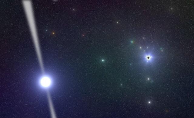 Пульсар PSR J1745-2900 и сверхмассивная чёрная дыра Стрелец А* в представлении художника (иллюстрация Ralph Eatough/MPIfR).