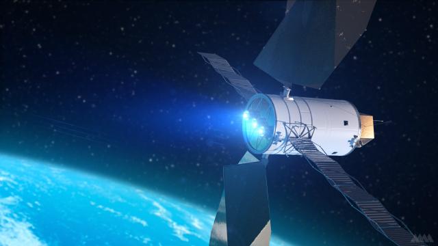 Художественный концепт аппарата для доставки астероидов к Земле (иллюстрация Analytical Mechanics Associates).